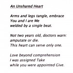 Day 64 – July 8th – An Unshared Heart